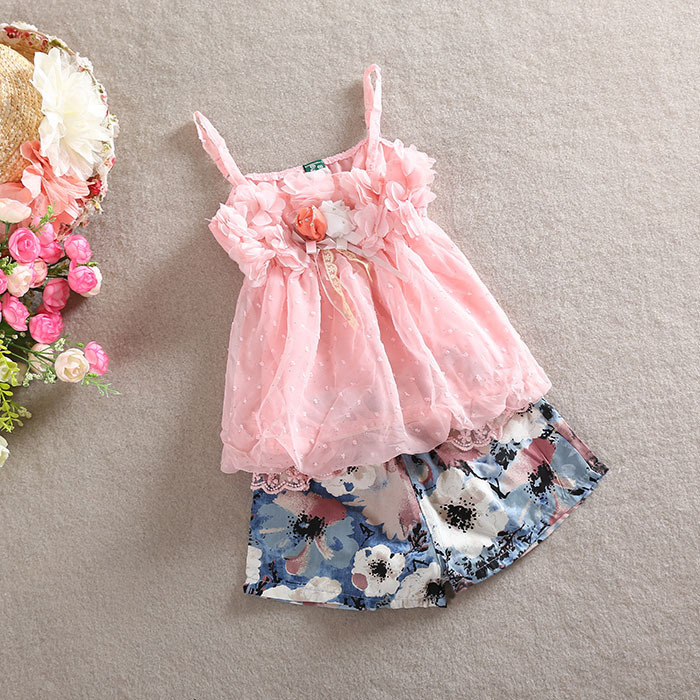 Wholesale NEW EMS DHL Free Baby Girls 2pc 3D Flower Applique Spaghetti Top+ Pants Baby Clothing Infant Wear brand new 140m c uxzg with free dhl ems