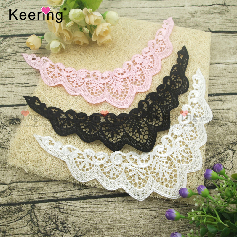 Keering Hot Sale 100 Polyester Angel Wings Lace Flutter Trim For Baby Suit WLSA 099