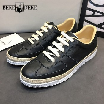Genuine Leather Breathable Casual Shoes Men Luxury Brand White Flat Sneakers Lace Up Vintage Flats Mens Summer Footwear Loafers