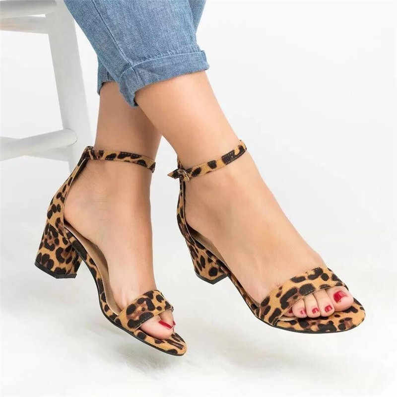 d254f4fe603d 2019 Ankle Strap Heels Leopard Print Women Sandals Summer Shoes Women Open  Toe Chunky High Heels