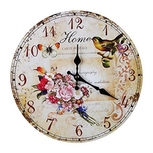 Wall Clock Vintage Shabby Chic Animals And Flowers Style 34cm Wall Clock  Home Bedroom Retro Kitchen Quartz (Pattern:Home)