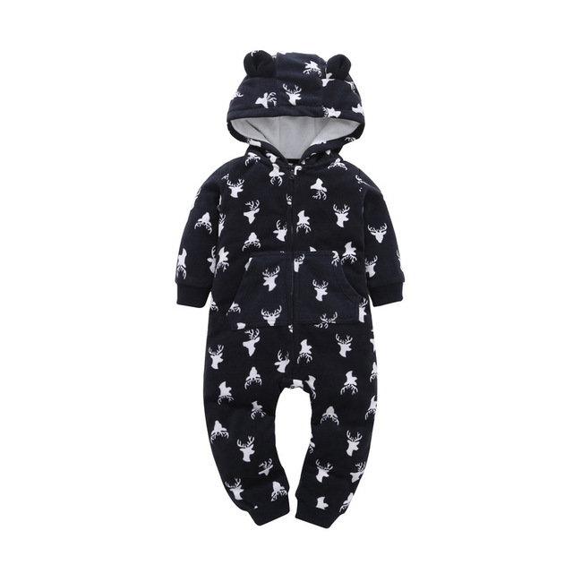 3ef4a697d New Born Baby Boy Clothes Santa Elk Print Toddler Hooded Rompers ...