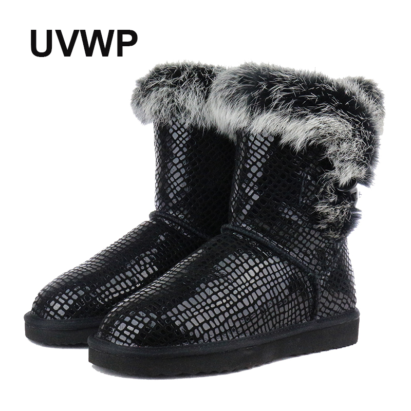 Free Shipping Fashion Genuine Leather Snow Boots for Women Shoes Warm Women Winter Boots Natural Rabbit