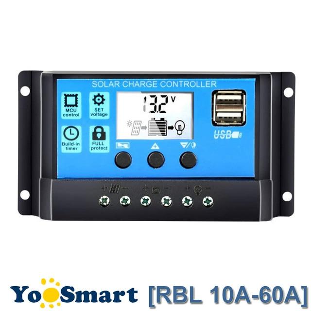 60A/50A/40A/30A/20A/10A 12 V 24 V Auto Solaire régulateur de charge PWM Avec LCD Double USB 5 V Sortie panneau de commande Régulateur PV Maison