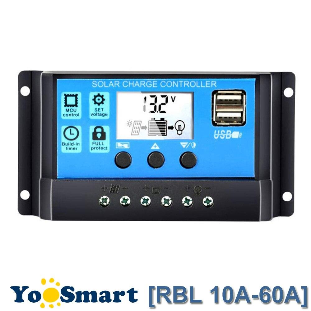 60A/50A/40A/30A/20A/10A 12 V 24 V Auto controlador de carga Solar PWM con pantalla LCD Dual USB 5 V de salida de la célula Solar regulador Panel PV casa