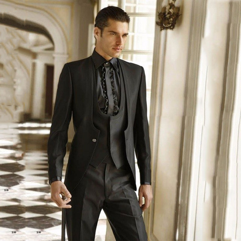 Latest Coat Pant Designs Black Men Classic Suits For Wedding Italian Groom Tuxedos Slim Fit Terno Masculino Prom Party 3Pieces