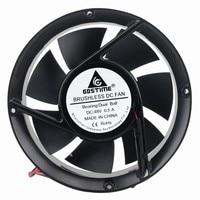 2 Pcs Gdstime Tow Ball Bearing 48V 170mm x 50mm Machine Cooler Metal Case Industrial DC Cooling Fan 172mm x 51mm 2Pin 17cm 17251