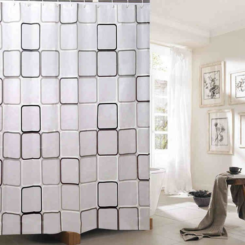 200X180cm Shower Curtain Waterproof PEVA Toilet Bathroom Curtain Polyester  Fabric Bath Shower Curtain With 12 Hooks