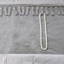 Серый+ черный бархатный жемчужный браслет, ожерелье цепь рулон для ювелирных украшений чехол для путешествий Органайзер рулон сумка для переноски держатель дисплея