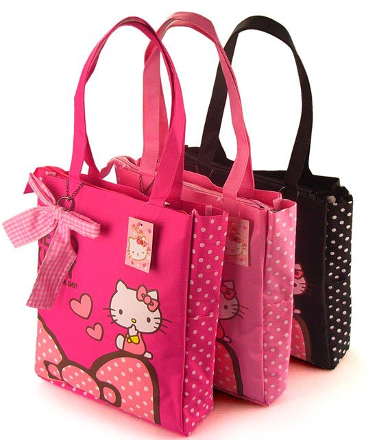 3 Colors Hello Kitty Fashion Cute Waterproof folding Shopping Bag ...