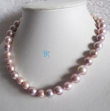 18 Inches Pearl Jewelry Set 11-12mm  Light Purple Freshwater Pearl Necklace Free One Pairs Earrings