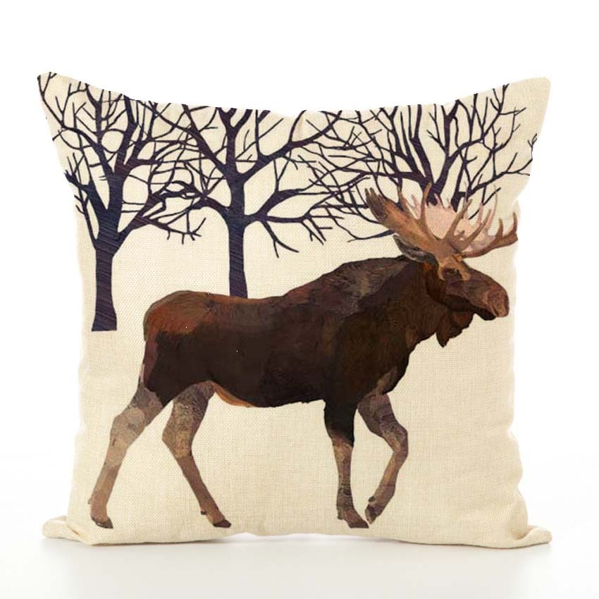Image 5 - Nordic Cushion Cover Animal Printed Linen Hug Pillowcase Thanksgiving Couch Car Waist Sofa Cushion Cover Living Room Decoration-in Cushion Cover from Home & Garden