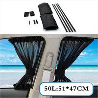 2 x Update 50L 51*47cm Car Styling Adjustable Vehicles Elastic Auto Car Side Window Sunshade Curtain Black/Beige/Gray