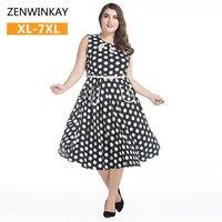 Pin up abiti vintage retro 50 s swing dress women plus size Signore di estate Polka Dot Abiti Xl Xxl Xxxl 4xl 5xl 6xl 7xl
