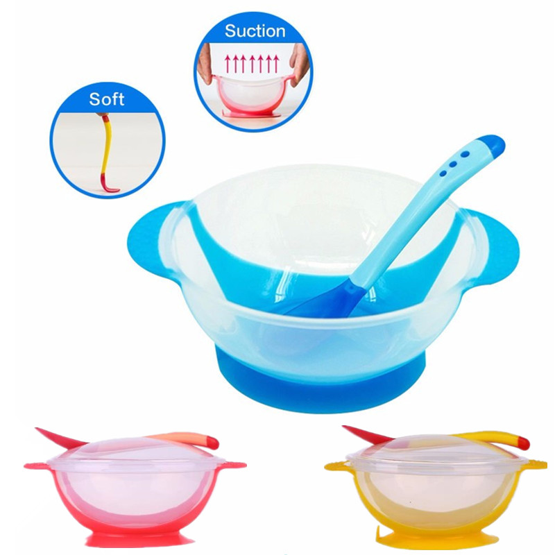 Kids Tableware Baby Dishes Suction Bowl Temperature Sensing Spoon Baby Utensils Infant Baby Feeding Bowls Learning Dishes Set