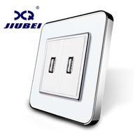 Jiubei White Crystal Glass Panel One Gang USB Plug Socket Wall Outlet SV C701UU 11