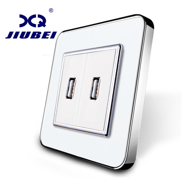 Jiubei White Crystal Glass Panel, One Gang USB Plug Socket / Wall Outlet SV-C701UU-11 uk standard 1 gang socket with 2 usb chargering 3 pin white glass panel wall socket and 2100ma usb wall plug outlet
