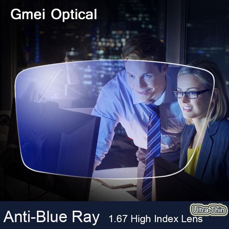 Anti-Blu Ray Lente 1.67 Alto Indice Ultrasottile Miopia Prescrizione di Lenti Ottiche Lenti Per Gli Occhi di Protezione di Lettura Occhiali