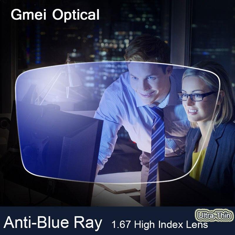 Anti-Rayo Azul Lente 1.67 Alto Índice Ultrafino Miopía Receta des de cristales De Protección de Los Ojos Lectura