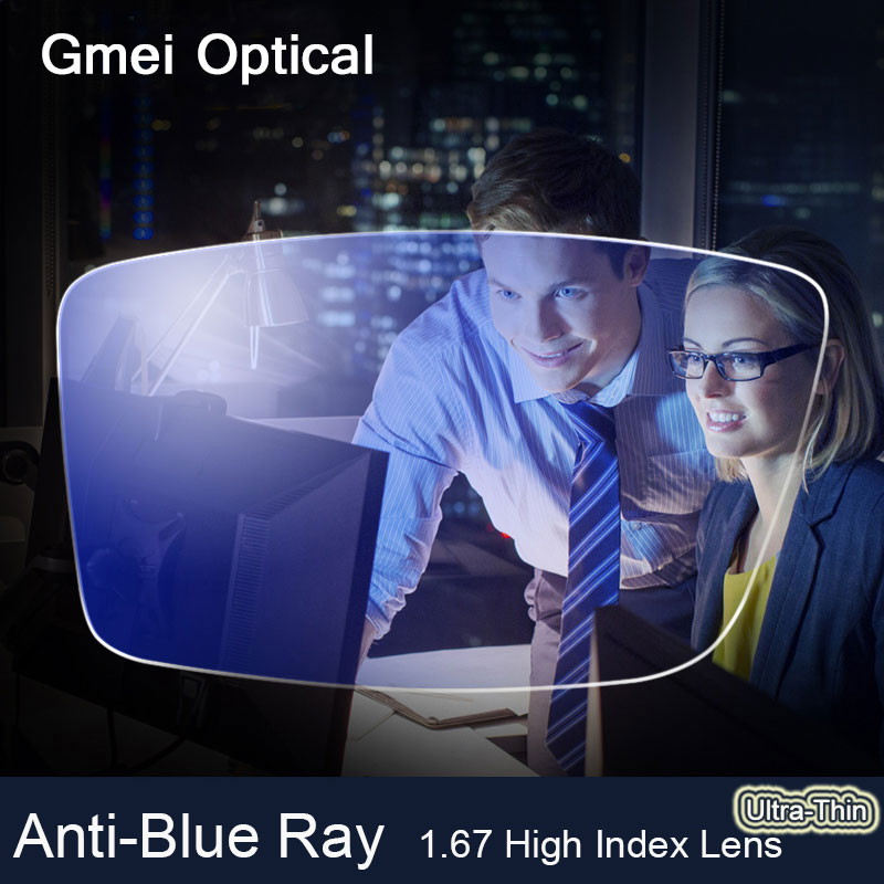 Lentille Anti-rayon bleu 1.67 haute indice ultra-mince myopie Prescription lentilles optiques verres pour la Protection des yeux lunettes de lecture