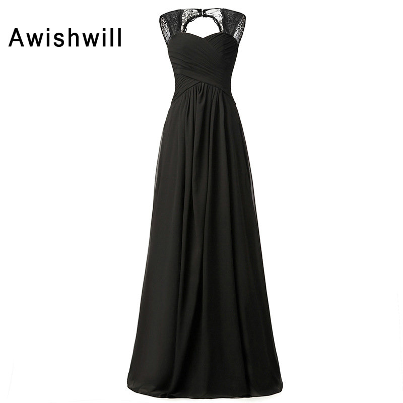 Simple Design Open Back Cap Sleeve Black Evening Dresses With Lace Chiffon Long Mother Of The Bride Evening Party Dress