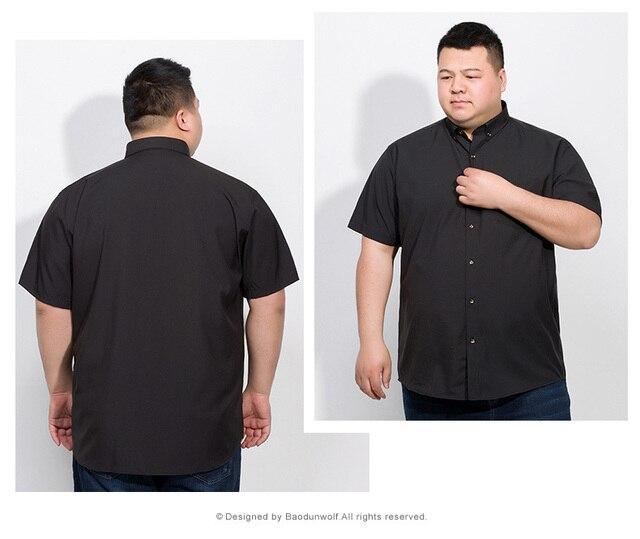 Plus 10XL 8XL 6XL 2018 Cotton Men Short Sleeve Solid Business Working Shirts Casual Shirt Oxford 4