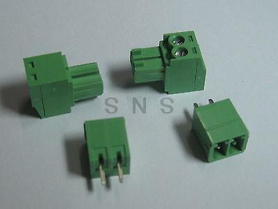 250 pcs Screw Terminal Block Connector 3.5mm 2 pin/way Green Pluggable Type 20078 2 pin pcb screw terminal block connectors green 15 piece pack