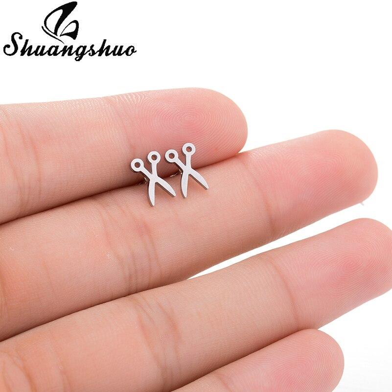 Shuangshuo Personality Female Scissors Earrings Wholesale Trade Stainless Steel Scissor Stud Earrings For Women Fancy Jewelry
