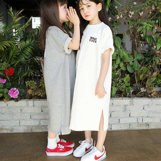 High Quality Cotton t shirt for girls Long Baby Shirts New 2020 Summer Leisure Children T shirt Dress Mommy and Me Dress, #2894