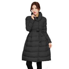 Fashion New Abrigos Mujer Winter Long Cotton Down Jacket Women Stand Collar Long Parka Thicken Warm