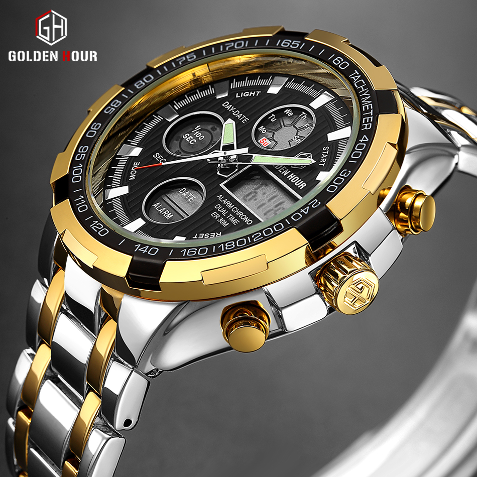GOLDENHOUR Luxury Brand Quartz Wrist Watch Analog Digital Watches Men Army Military Sport Watch Relogio Masculino Male Clock цены