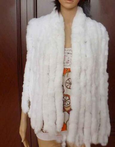 Натуральный вязаный шарф из кроличьего меха Рекс, женская зимняя теплая шаль из натурального меха,, KFP574 - Цвет: White