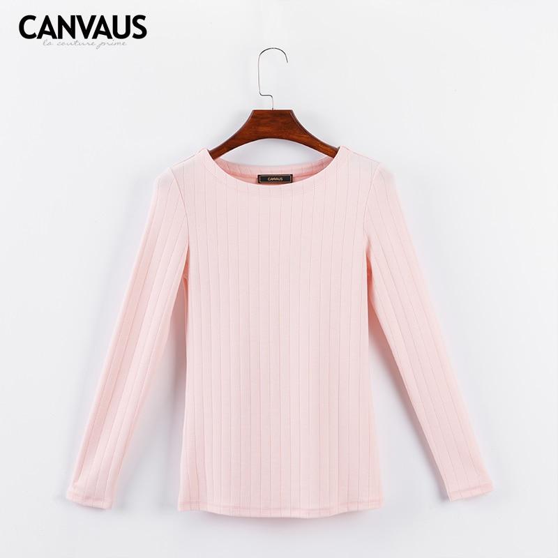CANVAUS Herbst Langarm Shirt Frauen Tops Elegante Casual Sim Einfache Oansatz Wilde Weibliche Unterhemd T-shirt T FS136A