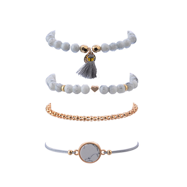 Crazy Feng 2018 Bohemian Marble Stone Beads Bracelet Set For Women Natural Stone Tassel Pendant Bangles Bracelet Femme Jewelry 1