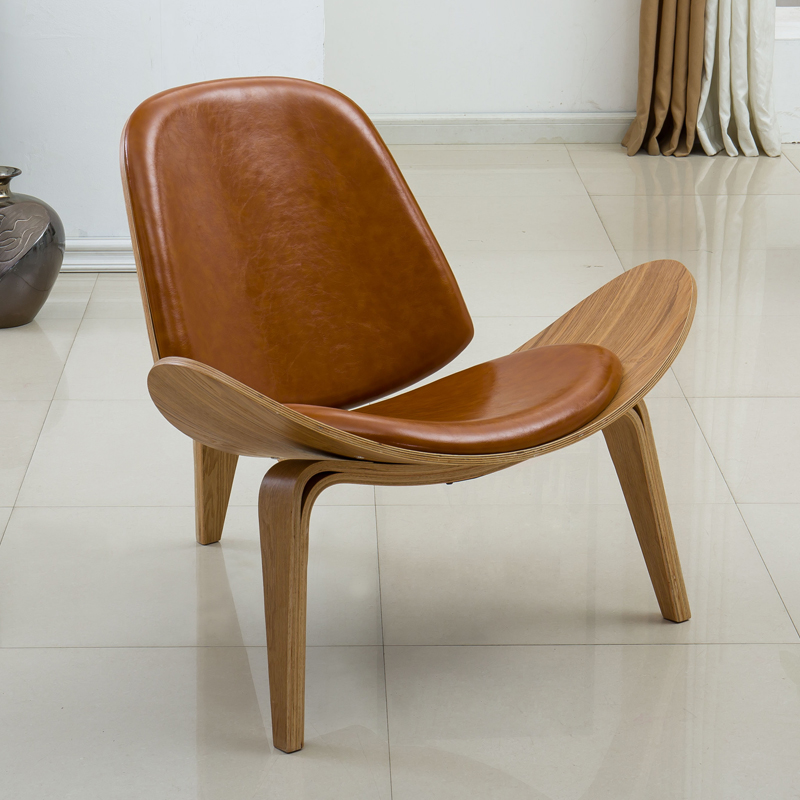 Wegner Style Molded Plywood Shell Lounge Chair In Oil Leather Upholstery Mid-Century Design Living Room Furniture Leisure Chair