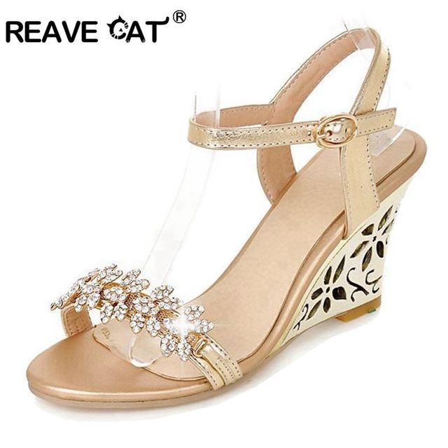 281c331dab5e7 REAVE CAT New arrival Glittering Fashion Fretwork Heels Wedges sandals  Rhinestone Silver Gold Summer sandals Sexy Sale QL4277