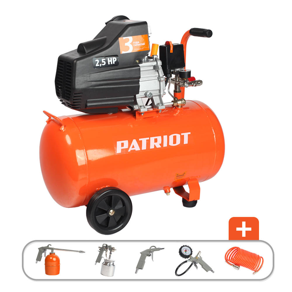 Compressor electric PATRIOT EURO 50-260k portable air compressor electric pump with barometer