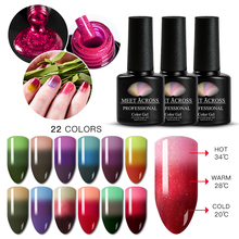 MEET ACROSS 7ml Thermal 3 Colors Changing Gel Nail Polish Holographic Glitter Temperature Soak Off UV Varnish