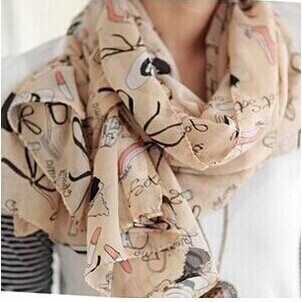 Shawl Girls Scarf Graffiti-Style Christmas-Gift Printed Chiffon Cartoon Women's Love