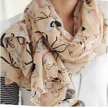 New Fashion Women's Chiffon Colorful Printed Sweet Cartoon C