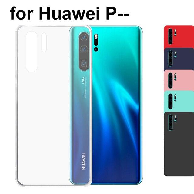 Mờ Trong Suốt Silicone Mềm TPU Dành Cho Huawei P30 Pro P20 Lite P10 P9 Plus P8 Lite 2017 P Thông Minh plus 2019 Da Đỏ Đen