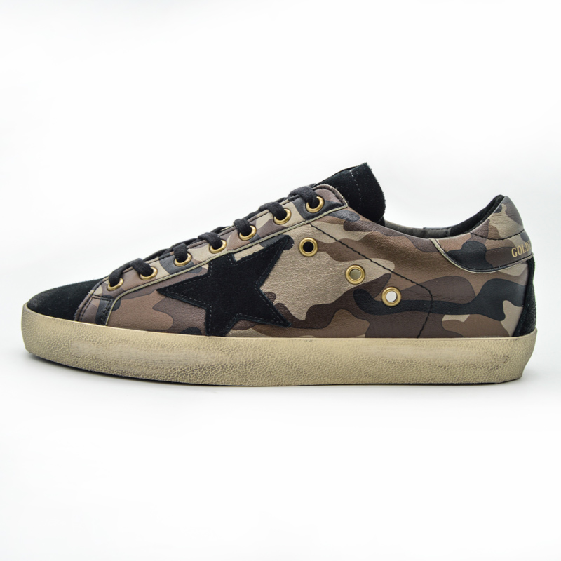 Original Deluxe Italy Women Men Camouflage Black Casual Golden Shoes Genuine Leather Goose Shoes Scarpe Inverno Uomo Donna 2016 hogan scarpe uomo