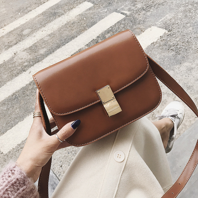 European Vintage Fashion Female Square Bag 2018 New High quality PU Leather Women's Handbag Simple Casual Shoulder Messenger Bag