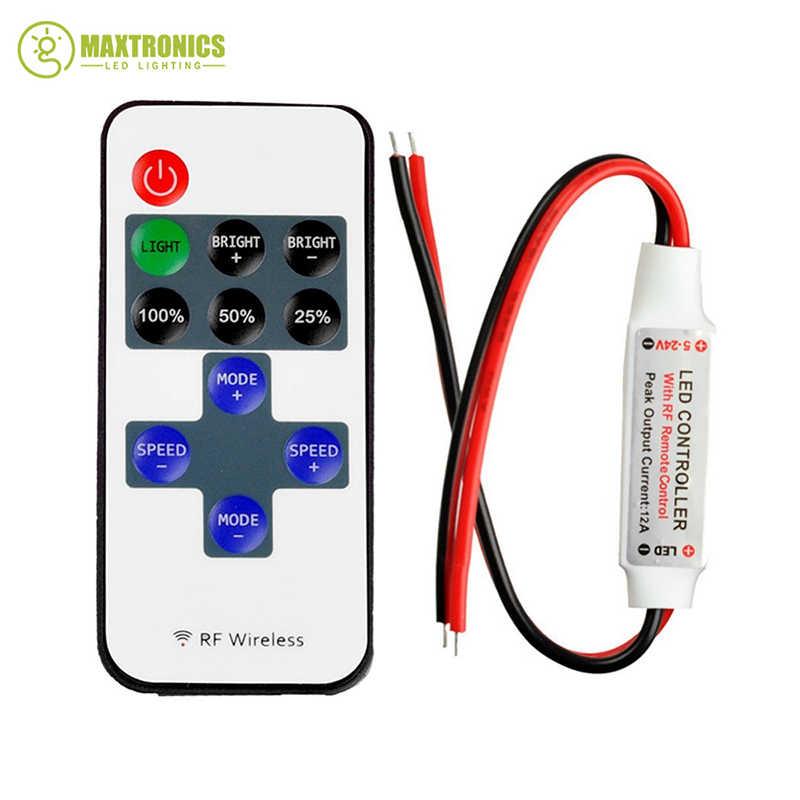 Mini LED Denetleyici Dimmer 11 Anahtar RF kablosuz uzaktan kumanda DC 5 ~ 24 V 12A için Tek Renk 3528 5050 LED şerit Işıklar