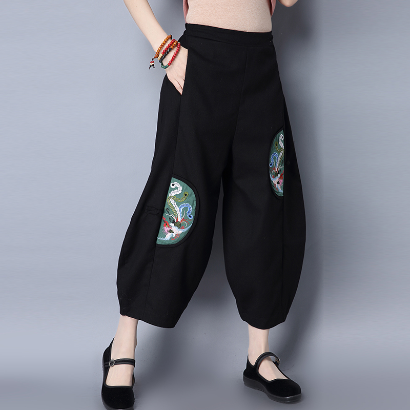 Chinese Style 2019 Women Spring Vestido Cotton Linen   Wide     Leg     Pants   Loose Embroidery Patchwork Ankle-Length   Pants