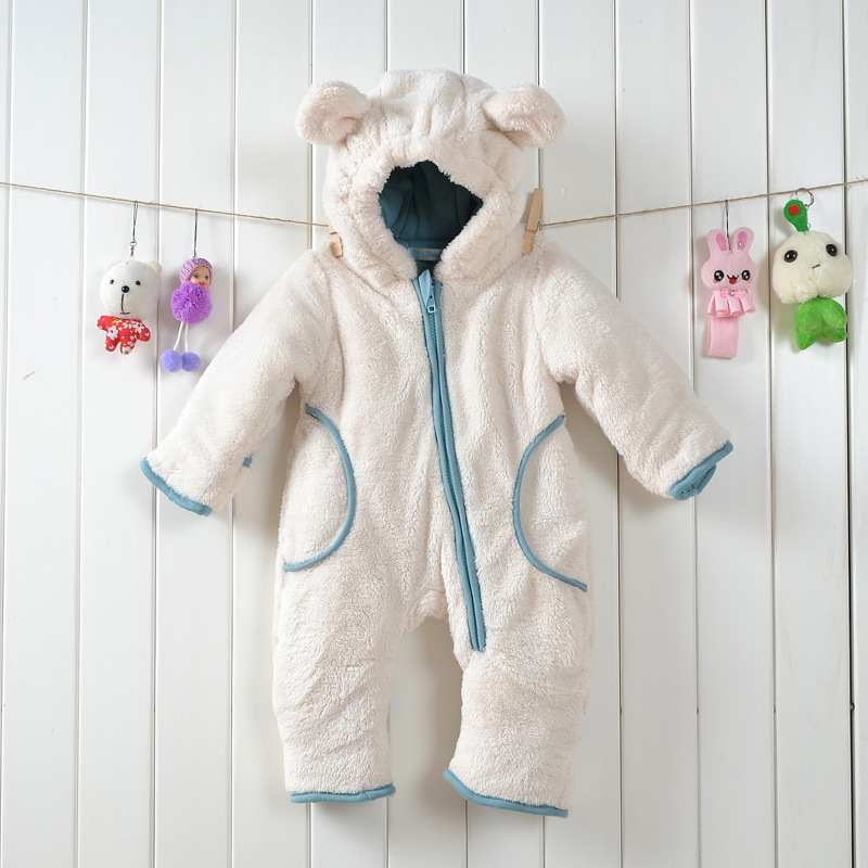 2015 new winter beige / brown hairy thickening modeling rompers Baby boy climbing clothes Newborn girl jumpsuit