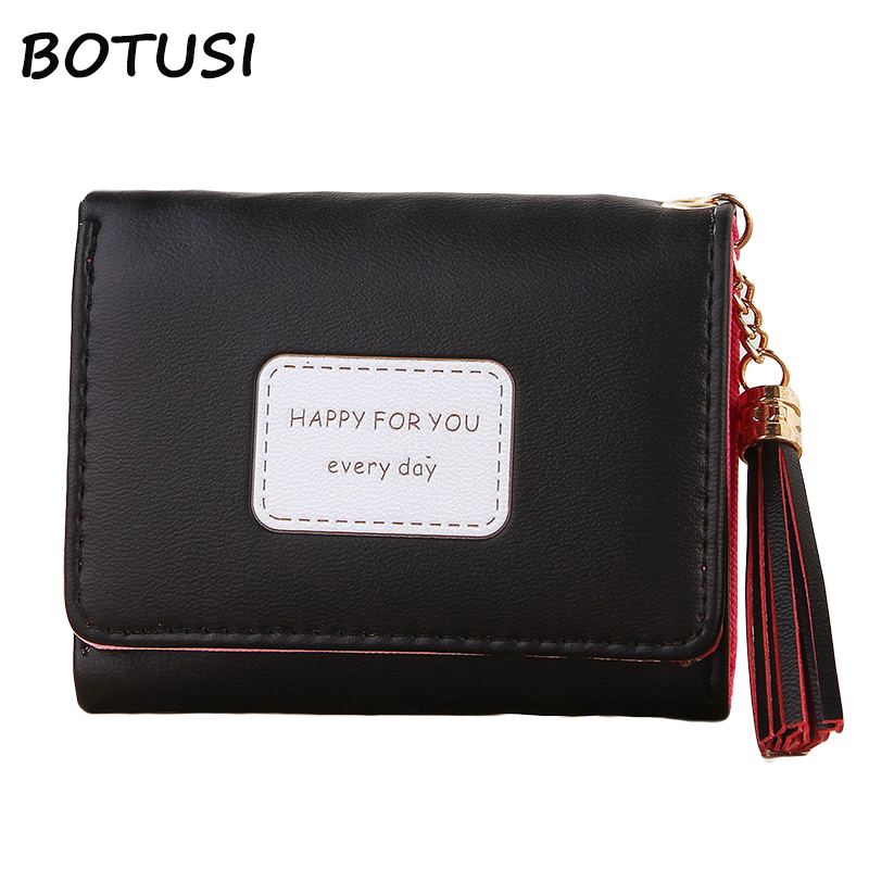 BOTUSI Happy Day Soft Leather Short Women Wallet Change Hasp Clasp Purse Clutch Money Phone Card Holder Multi functional Wallet in Wallets from Luggage Bags