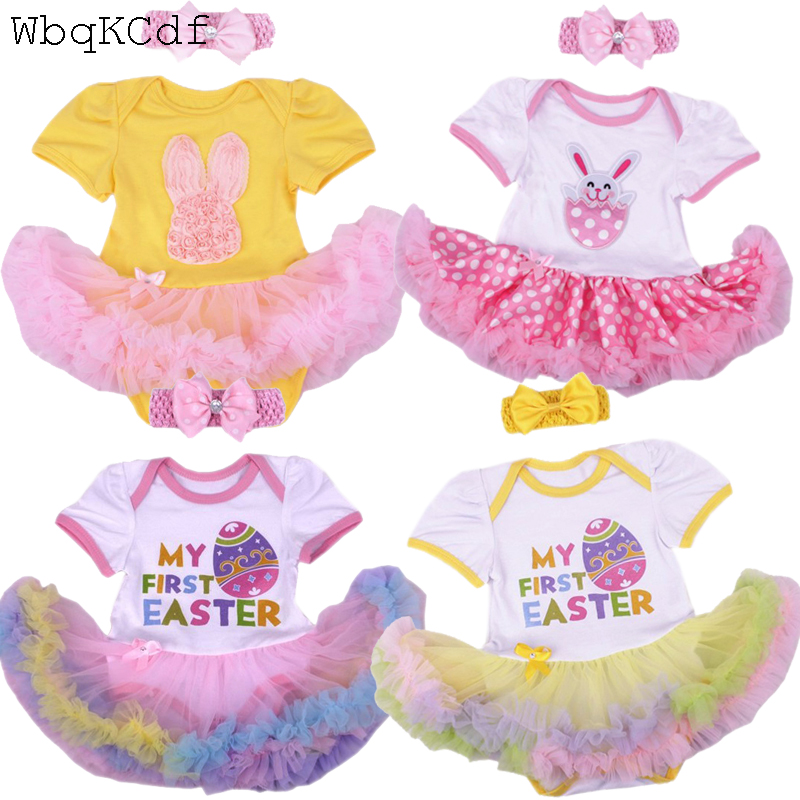 Newborn Toddler Baby Girls   Rompers   Short Sleeve Summer Rabbit Easter Girl Clothing Tutu Jumpsuit Outfits New Born Baby Clothes