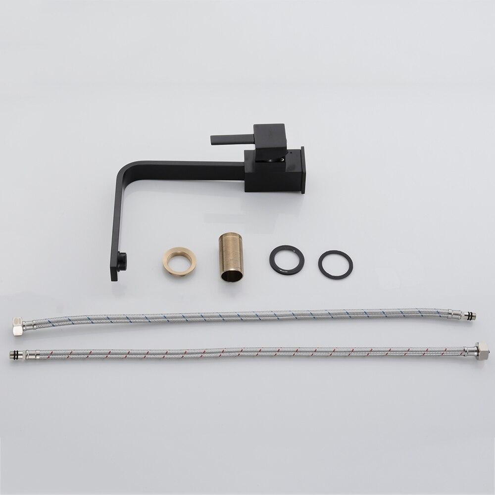Robinets de cuisine en laiton cuisine évier robinet d'eau 360 rotation pivotant robinet mélangeur support unique monotrou noir mitigeur 7115 - 6