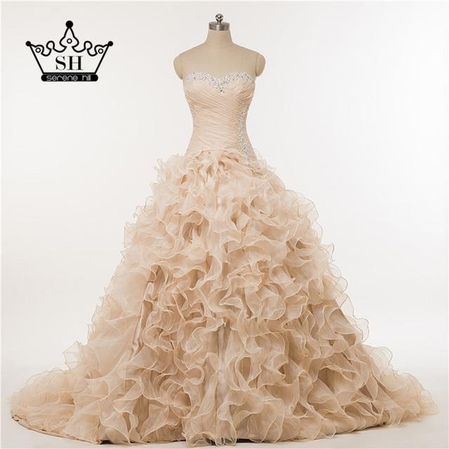 Real Photo Pink Ruffles photography Corset Beading wedding dress ...
